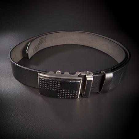 Ceinture à fermeture rapide pour costume homme - 4,0x130cm - cuir véritable - couleur noir