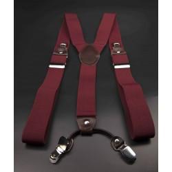 Bretelles - 3,5x120cm - cuir véritable & élasthanne - couleur bordeau