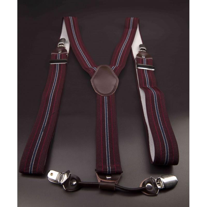 Bretelles - 3,5x120cm - cuir véritable & élasthanne - couleur bordeau rayé