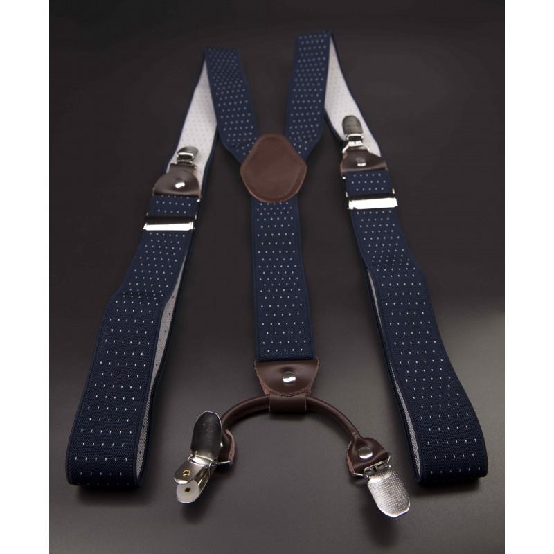 Bretelles - 3,5x120cm - cuir véritable & élasthanne - couleur bleu à points blancs