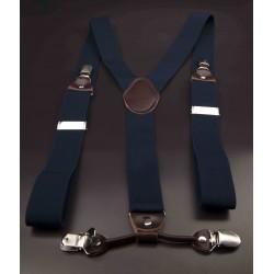 Bretelles - 3,5x120cm - cuir véritable & élasthanne - couleur bleu
