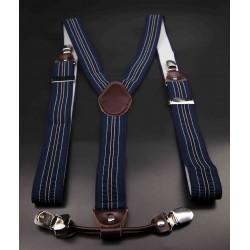 Bretelles - 3,5x120cm - cuir véritable & élasthanne - couleur bleu rayé (rayures bleu clair et blanches)
