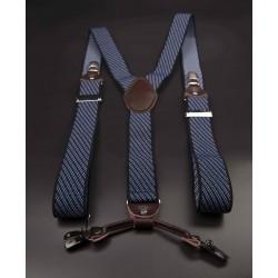 Bretelles - 3,5x120cm - cuir véritable & élasthanne - couleur bleu à rayures diagonales blanches