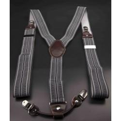 Bretelles - 3,5x120cm - cuir véritable & élasthanne - couleur gris rayé